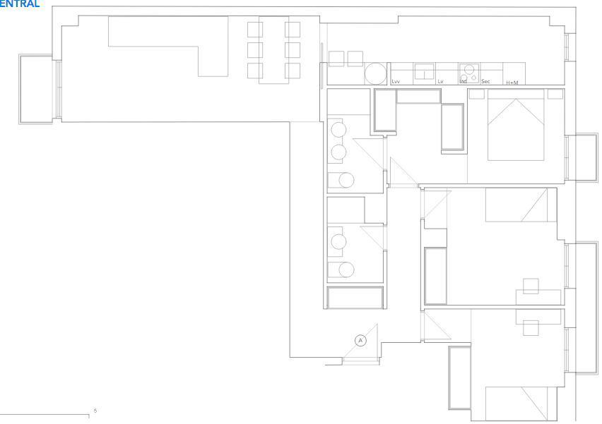 Plano de Tres Habitaciones